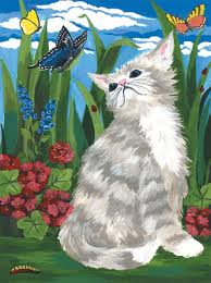 PJS7 Kitten and butterflies