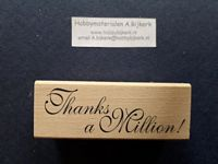 Houten stempel met tekst Thanks a Million OP=OP